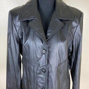 Maxima Black Leather Jacket sz L Spring Date Night